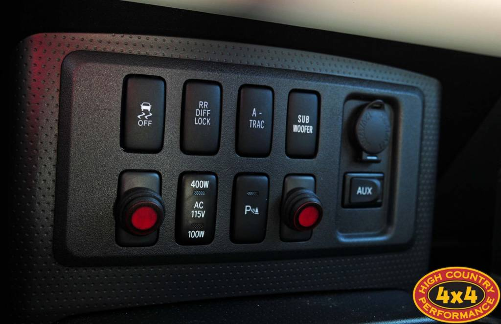 Switch Panel Inside FJ Cruiser With Rigid Industries Light Switches.  Switches In The