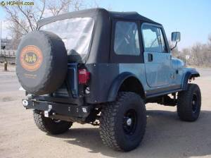 "CJ7 w/ 2.5"" BDS suspension, PSC Rocker Knockers, Bestop Super Top, WARN winch."